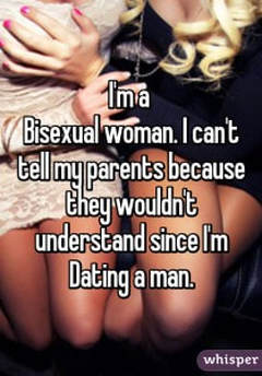 Picture I'm a bisexual woman.  I can't tell my parents because they wouldn't understand since I'm dating a man.