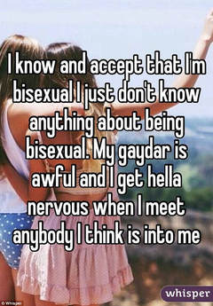 Picture I know and accept that I'm bisexual. I just don't know anything about being bisexual.  My gaydar is awful and I get hella nervous when I meet anybody I think is in to me.