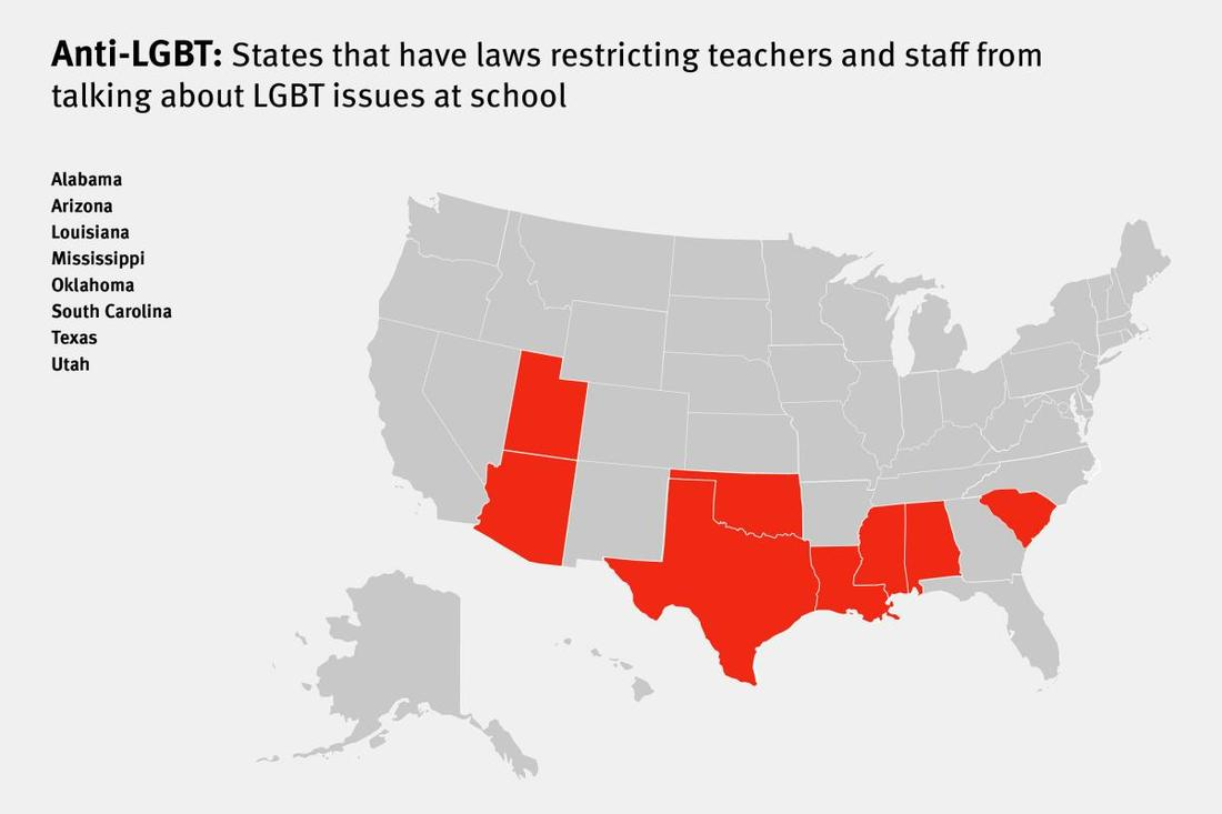 Picture: Anti-LGBT: States that have laws restricting teachers and staff from talking about LGBT issues at school:  Caption: Sources: Human Rights Watch | Lambda Legal